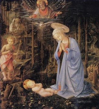 Adoration Art - The adoration with the infant Baptist and St Bernard Christian Filippino Lippi