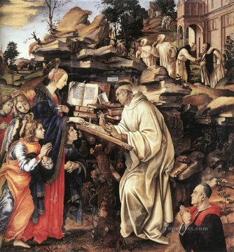 Virgin Painting - Apparition of The Virgin to St Bernard 1486 Christian Filippino Lippi