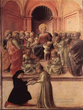 Fra Filippo Lippi Painting - Madonna And Child With Saints And A Worshipper Renaissance Filippo Lippi