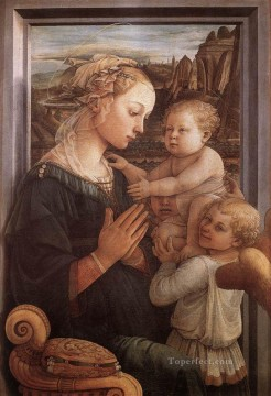 madonna Painting - Madonna With The Child And Two Angels 1465 Renaissance Filippo Lippi