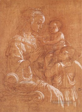 Madonna With The Child And Two Angels drawing Renaissance Filippo Lippi Oil Paintings