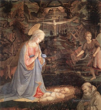 Fra Filippo Lippi Painting - Adoration Of The Child With Saints 1463 Renaissance Filippo Lippi