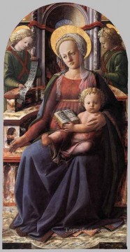 Fra Filippo Lippi Painting - Madonna And Child Enthroned With Two Angels Renaissance Filippo Lippi