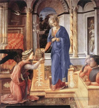 Fra Filippo Lippi Painting - The Annunciation Wih Two Kneeling Donors Renaissance Filippo Lippi