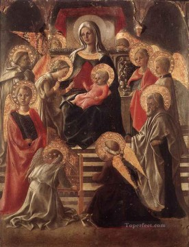 Fra Filippo Lippi Painting - Madonna And Child Enthroned With Saints Renaissance Filippo Lippi