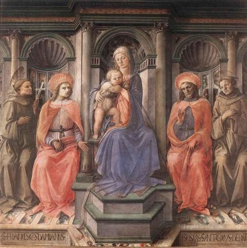 Fra Filippo Lippi Painting - Madonna Enthroned With Saints Renaissance Filippo Lippi