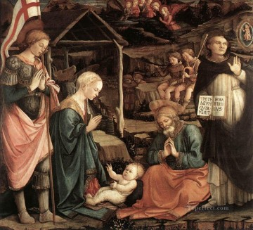 Fra Filippo Lippi Painting - Adoration Of The Child With Saints 1460 Renaissance Filippo Lippi