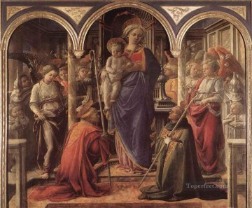 Fra Filippo Lippi Painting - Madonna And Child With St Fredianus And St Augustine Renaissance Filippo Lippi