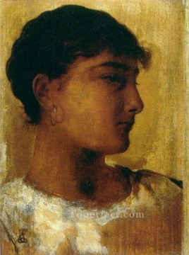 on canvas - Study of a young girls head another view Edwin Long