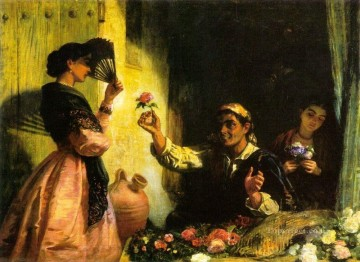A Spanish Flower Seller Edwin Long Oil Paintings