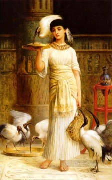 red Oil Painting - Alethe Attendant of the Sacred Ibis in the Temple of Isis at Edwin Long