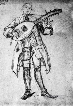 Player Painting - Lute Player life scenes Pietro Longhi