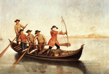 hunt Painting - Duck Hunters On The Lagoon life scenes Pietro Longhi