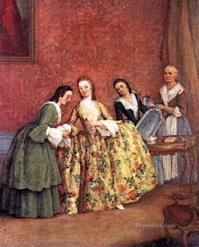 Morning Painting - The Venetian Ladys Morning life scenes Pietro Longhi