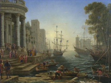 Port Scene with the Embarkation of St Ursula landscape Claude Lorrain Oil Paintings