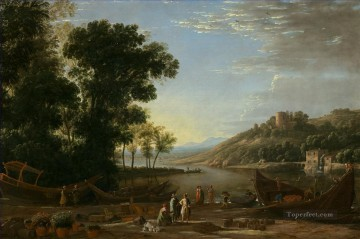 Landscape with Merchants Claude Lorrain Oil Paintings