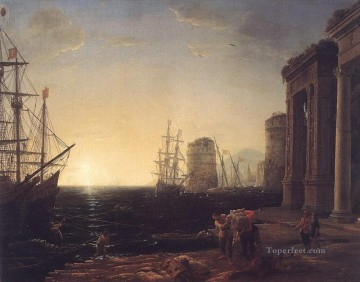 Harbour Painting - Harbour Scene at Sunset landscape Claude Lorrain