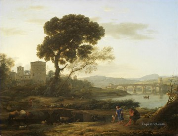 Claude Lorrain Painting - Landscape with Shepherds The Pont Molle Claude Lorrain
