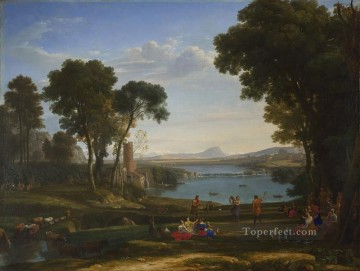 Lorrain Art Painting - Landscape with Dancing Figures The Mill Claude Lorrain
