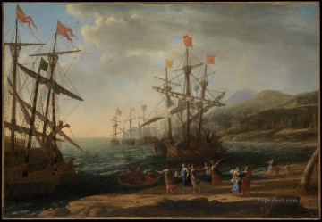 Claude Lorrain Painting - Marine with the Trojans Burning their Boats landscape Claude Lorrain