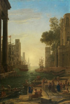 Lorrain Art Painting - Embarkation of St Paula Romana at Ostia landscape Claude Lorrain