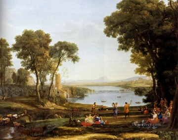 Lorrain Art Painting - Landscape With The Marriage Of Isaac And Rebekah Claude Lorrain