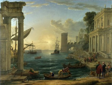 landscape Painting - Seaport with the Embarkation of the Queen of Sheba landscape Claude Lorrain