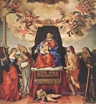 Lorenzo Lotto Painting - Madonna and Child with Saints 1521II Renaissance Lorenzo Lotto