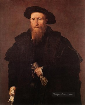 Lotto Art Painting - Gentleman with Gloves 1543 Renaissance Lorenzo Lotto
