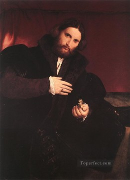 Lotto Art Painting - Man with a Golden Paw 1527 Renaissance Lorenzo Lotto