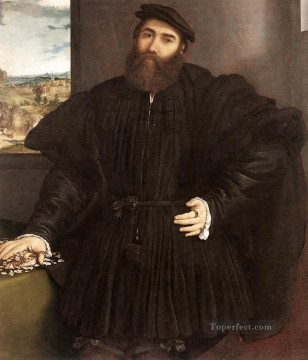 Lorenzo Lotto Painting - Portrait of a Gentleman 1530 Renaissance Lorenzo Lotto