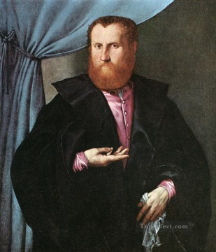 Lorenzo Lotto Painting - Portrait of a Man in Black Silk Cloak 1535 Renaissance Lorenzo Lotto