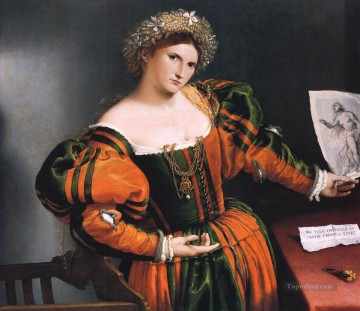 Lorenzo Lotto Painting - Portrait of a lady with a picture of the suicide of Lucretia Renaissance Lorenzo Lotto