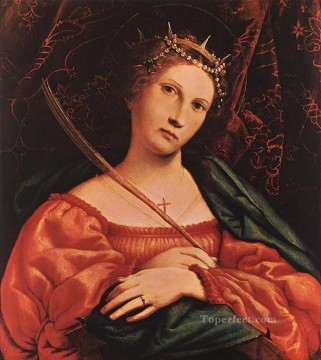 Lotto Art Painting - St Catherine of Alexandria 1522 Renaissance Lorenzo Lotto