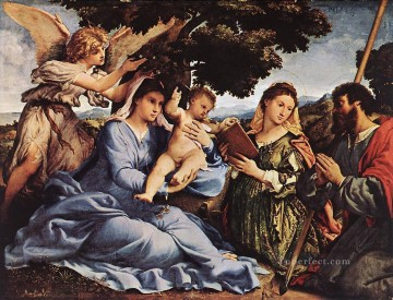 Lotto Art Painting - Madonna and Child with Saints and an Angel 1527 Renaissance Lorenzo Lotto