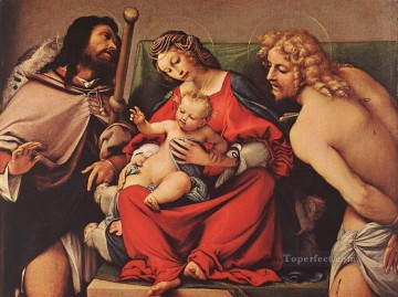 Lotto Art Painting - Madonna with the Child and Sts Rock and Sebastian 1522 Renaissance Lorenzo Lotto