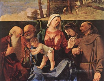 Lotto Art Painting - Madonna and Child with Saints Renaissance Lorenzo Lotto