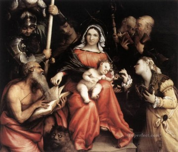 Lorenzo Lotto Painting - Mystic Marriage of St Catherine 1524 Renaissance Lorenzo Lotto