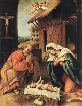 Lotto Art Painting - Nativity 1523 Renaissance Lorenzo Lotto