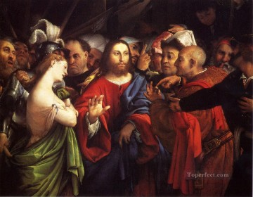 Lotto Art Painting - Christ And The Adulteress Renaissance Lorenzo Lotto