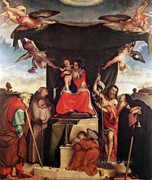 Lotto Art Painting - Madonna and Child with Saints 1521 Renaissance Lorenzo Lotto