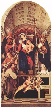 Lorenzo Lotto Painting - Madonna and Child with Sts Dominic Gregory and Urban Renaissance Lorenzo Lotto