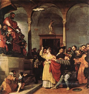 Lorenzo Lotto Painting - St Lucy before the Judge 1532 Renaissance Lorenzo Lotto