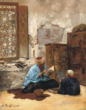 Lesson Painting - The lesson Ludwig Deutsch Orientalism