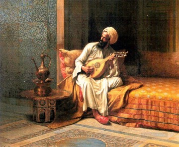 Player Painting - The Mandolin Player Ludwig Deutsch Orientalism