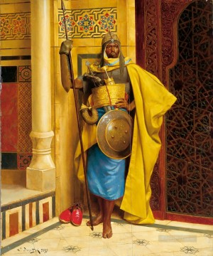 Artworks by 350 Famous Artists Painting - The Nubian Palace Guard Ludwig Deutsch Orientalism