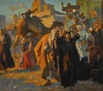 Celebration Painting - A Street Celebration in Cairo Ludwig Deutsch Orientalism