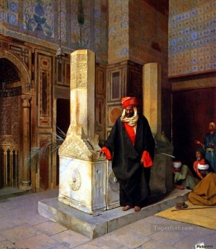 Artworks by 350 Famous Artists Painting - Prayer at the tomb Ludwig Deutsch Orientalism