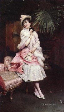 Mask Art - LADY WITH A MASK realist lady Raimundo de Madrazo y Garreta