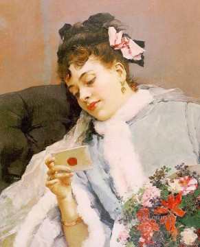 Love Painting - The Love Letter realist lady Raimundo de Madrazo y Garreta